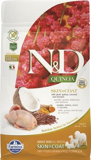 N&D QUINOA SKIN & COAT с пъдпъдъче месо храна за кучета в зряла възраст от всички породи